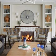 Little can beat a fireplace in winter couch, furniture, hearth, home, interior design, living room, loveseat, room, wall, gray
