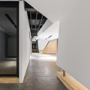 You can see one of the meeting rooms architecture, daylighting, floor, house, interior design, loft, product design, gray