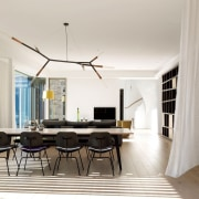 A custom made light floats in an airy ceiling, chair, dining room, furniture, interior design, living room, real estate, room, table, white