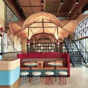 Designed by: AlvinT StudioPhotography by Martin Westlake interior design, lobby, brown, orange