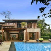Architect: Studio PKA http://www.purankumar.com/Photographer: Amit Pasricha cottage, estate, facade, home, house, mansion, property, real estate, resort, swimming pool, villa, brown, teal