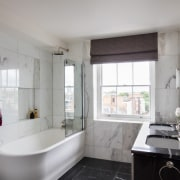 Architect: Alchemi GroupStory from Devon & bathroom, home, interior design, property, real estate, room, window, gray, black