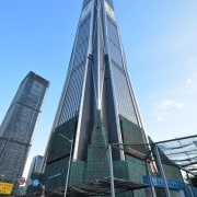 2. Ping An Finance Centre – 600 m architecture, building, city, commercial building, condominium, corporate headquarters, daytime, downtown, facade, headquarters, landmark, metropolis, metropolitan area, sky, skyscraper, tower, tower block, urban area, teal