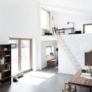 Architect: Sigured Larsen home, house, interior design, living room, loft, product design, property, shelf, shelving, white