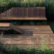 Architect: J.Roc Design backyard, bench, deck, furniture, grass, hardwood, landscaping, outdoor furniture, outdoor structure, sunlounger, walkway, wood, wood stain, yard, black
