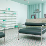 Sergio Mannino Studio designed this pharmacy to be floor, furniture, interior design, product design, table, gray, white