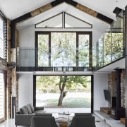 The room opens out onto the garden architecture, ceiling, daylighting, home, house, interior design, living room, window, white, gray
