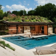 This pool house is immersed in nature estate, home, house, leisure, property, real estate, resort, swimming pool, villa, brown, gray