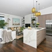 Architect: Allan McIntosh of Buildology Ltd countertop, floor, flooring, interior design, kitchen, real estate, gray, white