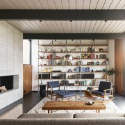 This wall is both another storage space and architecture, furniture, interior design, living room, loft, shelving, gray