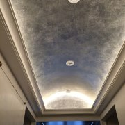 An ornate, elegant ceiling with recessed lighting - ceiling, daylighting, daytime, light fixture, lighting, plaster, sky, gray