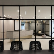Austbrokers Countrywide – New office designed by A1 floor, glass, interior design, lobby, gray, black