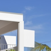 This verandah features an operable wall architecture, building, daytime, elevation, facade, home, house, property, real estate, residential area, sky, window, blue