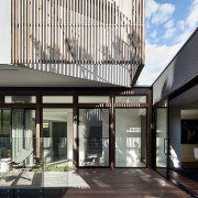 Wood slats are a must-have on any contemporary architecture, building, daylighting, facade, house, real estate, white, black, gray