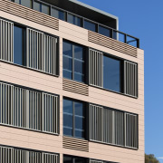 The ceramic building facade system – Available from apartment, architecture, brutalist architecture, building, commercial building, condominium, corporate headquarters, daytime, elevation, facade, headquarters, line, mixed use, real estate, residential area, siding, sky, structure, window, black, blue