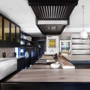 For the kitchen in his own home, designer interior design, white, black