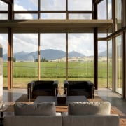 Architect: Olson Kundig Architects  home, house, interior design, living room, real estate, window, black, white