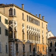 This palace was once home to Giorgione's 'The apartment, building, city, classical architecture, estate, facade, historic site, medieval architecture, metropolis, neighbourhood, palace, plaza, property, sky, town, town square, window