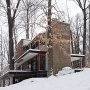 The home in winter - The home in cottage, freezing, home, house, log cabin, property, snow, sugar house, tree, winter, wood, white
