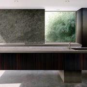 This cantilevered bench almost looks impossible – but architecture, bathtub, floor, furniture, interior design, product design, sink, table, black, gray