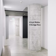 Clear signage runs throughout the centre - Clear floor, interior design, structure, white, gray