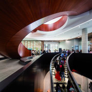 Architect: Woods Bagot/KannFinchPhotography by Trevor Mein architecture, ceiling, interior design, lobby, red