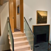 Photo by Amy Gardner architecture, floor, flooring, handrail, interior design, real estate, stairs, gray, brown