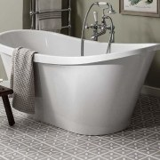 Use a freestanding tub to open your bathroom bathroom, bathtub, ceramic, floor, flooring, plumbing fixture, product, product design, tap, gray