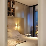 Space may be at a premium in this bedroom, furniture, home, interior design, lighting, room, suite, wall, window, orange, brown