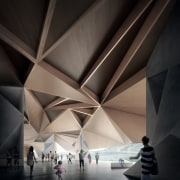 Architect: Terrior architecture, ceiling, daylighting, light, lighting, line, structure, symmetry, tourist attraction, black