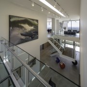 This balcony/walkway features glass floors - This balcony/walkway glass, handrail, interior design, window, gray, black