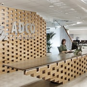 ADCO Constructions' new office fit-out by architects Woods ceiling, floor, flooring, furniture, interior design, lobby, tile, wall, gray