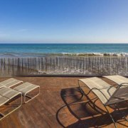 Edward Norton's new Malibu Colony home – Trulia beach, horizon, ocean, outdoor furniture, property, real estate, resort, sea, shore, sunlounger, table, vacation, teal, brown