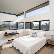 Clerestory windows run around the standard height windows architecture, bedroom, ceiling, estate, interior design, living room, penthouse apartment, property, real estate, room, window, gray