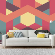 Geometric wallpaper - Geometric wallpaper - interior design interior design, living room, pattern, wall, wallpaper, red, white