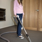 Girl Vacuuming - Girl Vacuuming - floor | floor, flooring, joint, leg, shoulder, standing, vacuum, vacuum cleaner, gray, brown