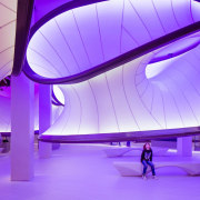 Zaha Hadid – Mathematics: The Winton Gallery – architecture, blue, ceiling, computer wallpaper, daylighting, leisure centre, light, lighting, product design, purple, structure, purple