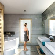 Spacious bathrooms are the ultimate place to relax bathroom, interior design, room, white, gray