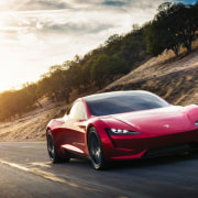 Tesla's new Roadster automotive design, car, computer wallpaper, concept car, family car, land vehicle, luxury vehicle, mid size car, mode of transport, motor vehicle, performance car, personal luxury car, race car, sky, sports car, supercar, vehicle, black, white