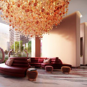 These substantial chandeliers create a striking lobby ceiling, interior design, living room, lobby, gray, red