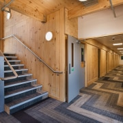Green at heart – sustainable, efficient pre-fabricated cross architecture, interior design, real estate, stairs, wood, brown, orange