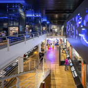 The new permanent exhibition at the Museum of metropolitan area, shopping mall, blue
