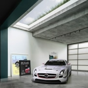 Glimpse the green roof through the skylight - automotive design, automotive exterior, building, car, garage, luxury vehicle, mercedes benz, mercedes benz sls amg, motor vehicle, performance car, personal luxury car, sports car, vehicle, gray, black