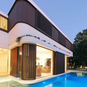 By dividing the first floor walls in three architecture, estate, facade, home, house, property, real estate, roof, swimming pool, villa, window, teal