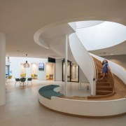 Zaans Medical Centre – Mecanoo - Zaans Medical architecture, ceiling, daylighting, furniture, interior design, lobby, product design, table, gray, brown