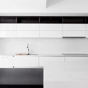 The angled ceiling creates an airy space above angle, architecture, black and white, countertop, floor, furniture, interior design, kitchen, product, product design, tap, tile, wall, white