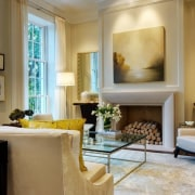 The large windows permit views of the leafy ceiling, home, interior design, living room, room, suite, wall, brown, gray