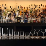 Quality glassware and crystal from The Studio of alcohol, alcoholic beverage, bar, barware, bottle, distilled beverage, drink, glass bottle, liqueur, liquor store, wine, black