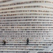 The fluid lines of the book shelves in building, text, gray