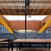 Slats filter sunlight onto this seating area architecture, auditorium, ceiling, daylighting, interior design, leisure centre, wood, brown